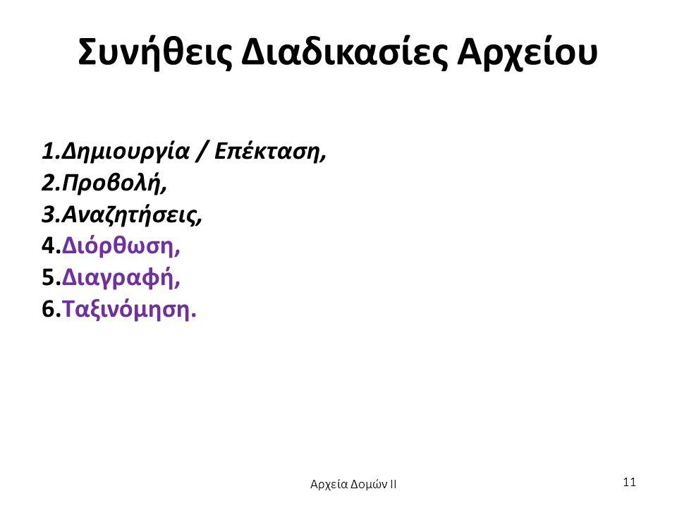 Συνήθεις Διαδικασίες Αρχείου 1.Δημιουργία / Επέκταση, 2.Προβολή, 3.Αναζητήσεις, 4.Διόρθωση, 5.Διαγραφή, 6.Ταξινόμηση. Αρχεία Δομών ΙΙ 11