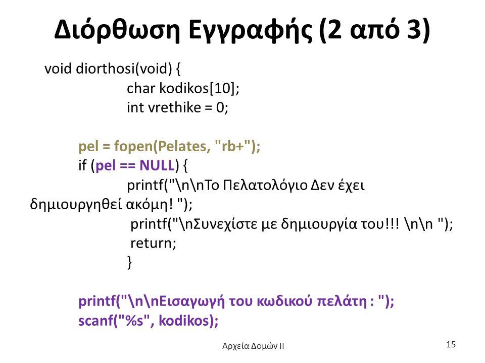 Διόρθωση Εγγραφής (2 από 3) void diorthosi(void) { char kodikos[10]; int vrethike = 0; pel = fopen(Pelates,
