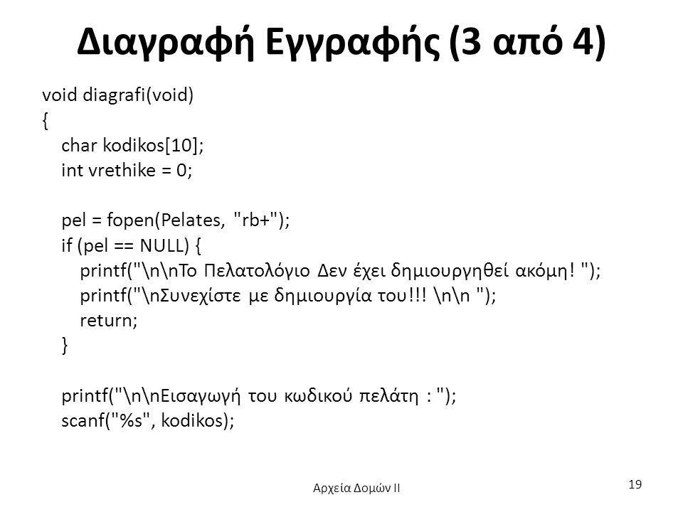 Διαγραφή Εγγραφής (3 από 4) void diagrafi(void) { char kodikos[10]; int vrethike = 0; pel = fopen(Pelates,