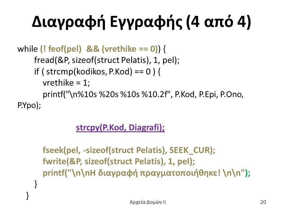 Διαγραφή Εγγραφής (4 από 4) while (! feof(pel) && (vrethike == 0)) { fread(&P, sizeof(struct Pelatis), 1, pel); if ( strcmp(kodikos, P.Kod) == 0 ) { v