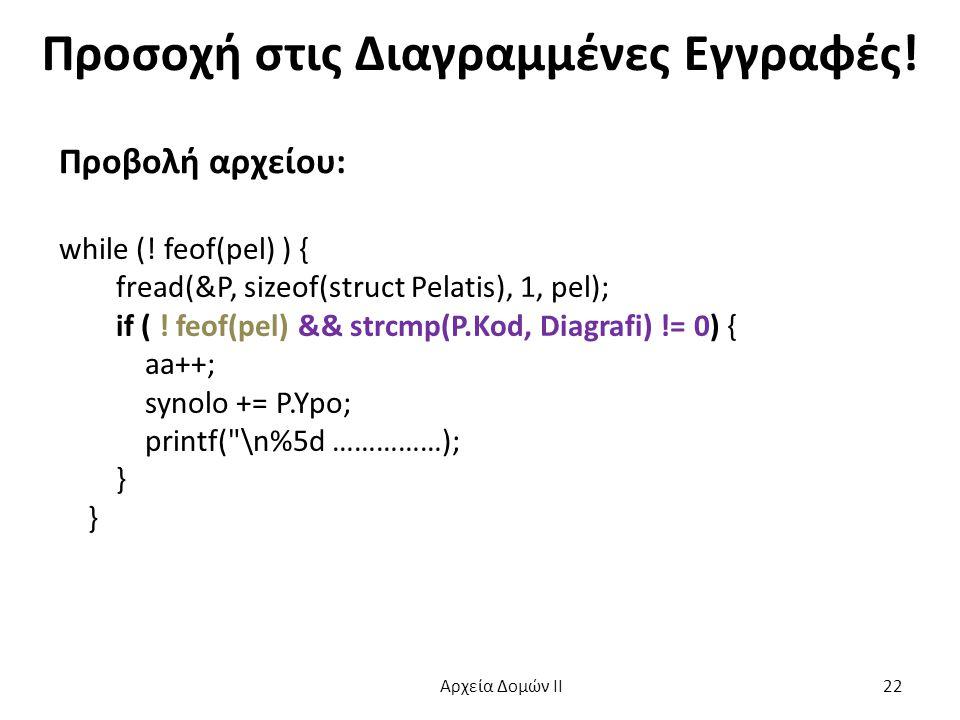 Προσοχή στις Διαγραμμένες Εγγραφές! Προβολή αρχείου: while (! feof(pel) ) { fread(&P, sizeof(struct Pelatis), 1, pel); if ( ! feof(pel) && strcmp(P.Ko