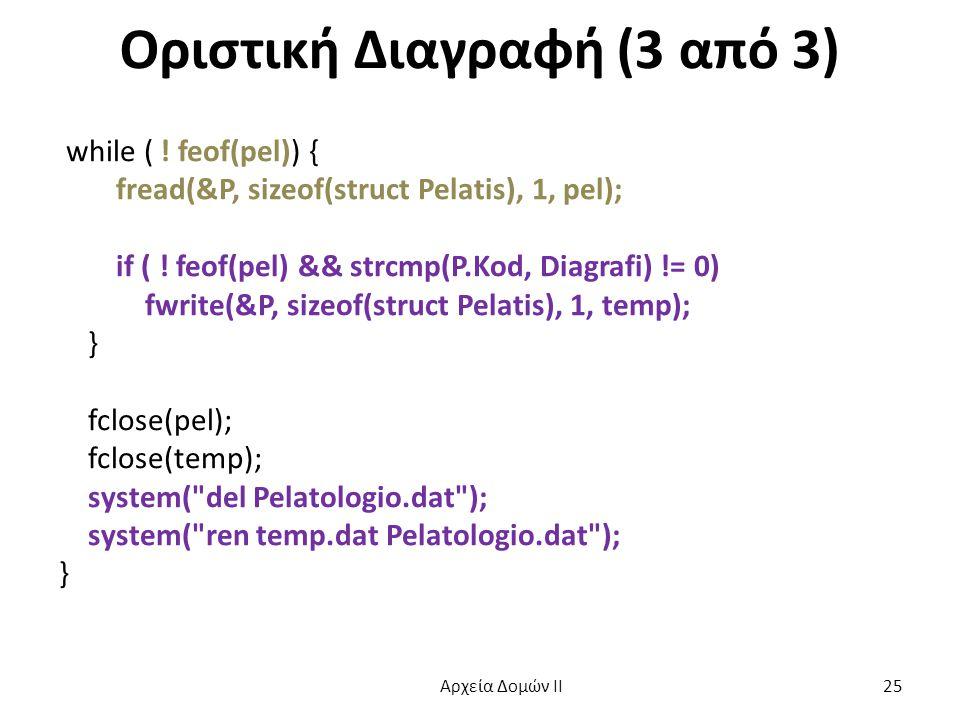 Οριστική Διαγραφή (3 από 3) while ( ! feof(pel)) { fread(&P, sizeof(struct Pelatis), 1, pel); if ( ! feof(pel) && strcmp(P.Kod, Diagrafi) != 0) fwrite