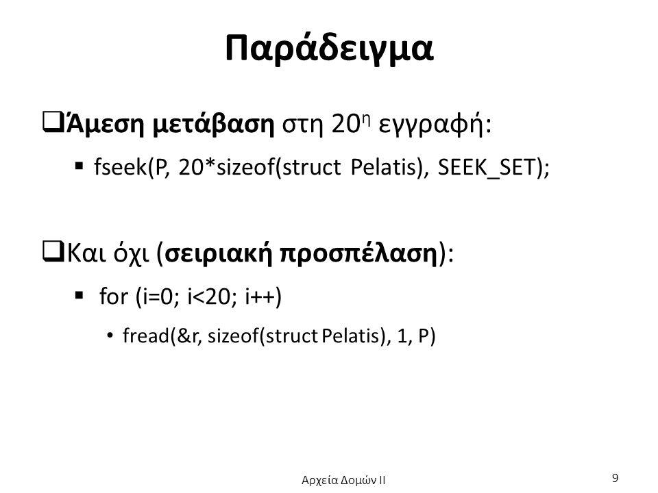 Παράδειγμα  Άμεση μετάβαση στη 20 η εγγραφή:  fseek(P, 20*sizeof(struct Pelatis), SEEK_SET);  Και όχι (σειριακή προσπέλαση):  for (i=0; i<20; i++)