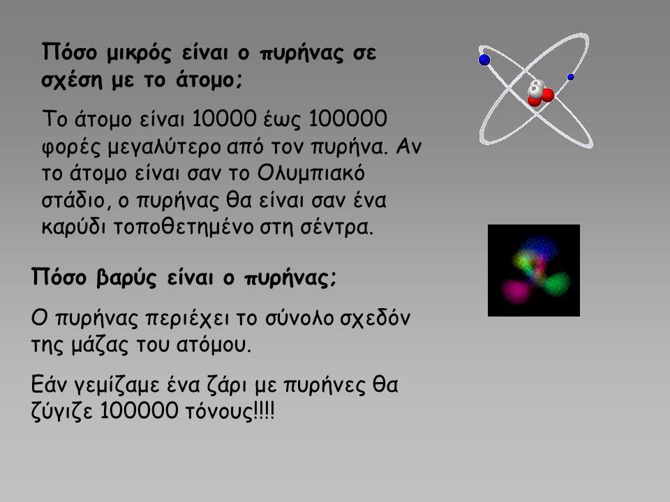 Πόσο μικρός είναι ο πυρήνας σε σχέση με το άτομο; Το άτομο είναι 10000 έως 100000 φορές μεγαλύτερο από τον πυρήνα. Αν το άτομο είναι σαν το Ολυμπιακό