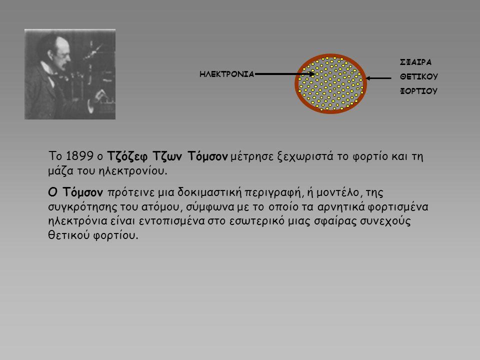 ΣΦΑΙΡΑ ΘΕΤΙΚΟΥ ΦΟΡΤΙΟΥ ΗΛΕΚΤΡΟΝΙΑ Το 1899 ο Τζόζεφ Τζων Τόμσον μέτρησε ξεχωριστά το φορτίο και τη μάζα του ηλεκτρονίου. Ο Τόμσον πρότεινε μια δοκιμαστ