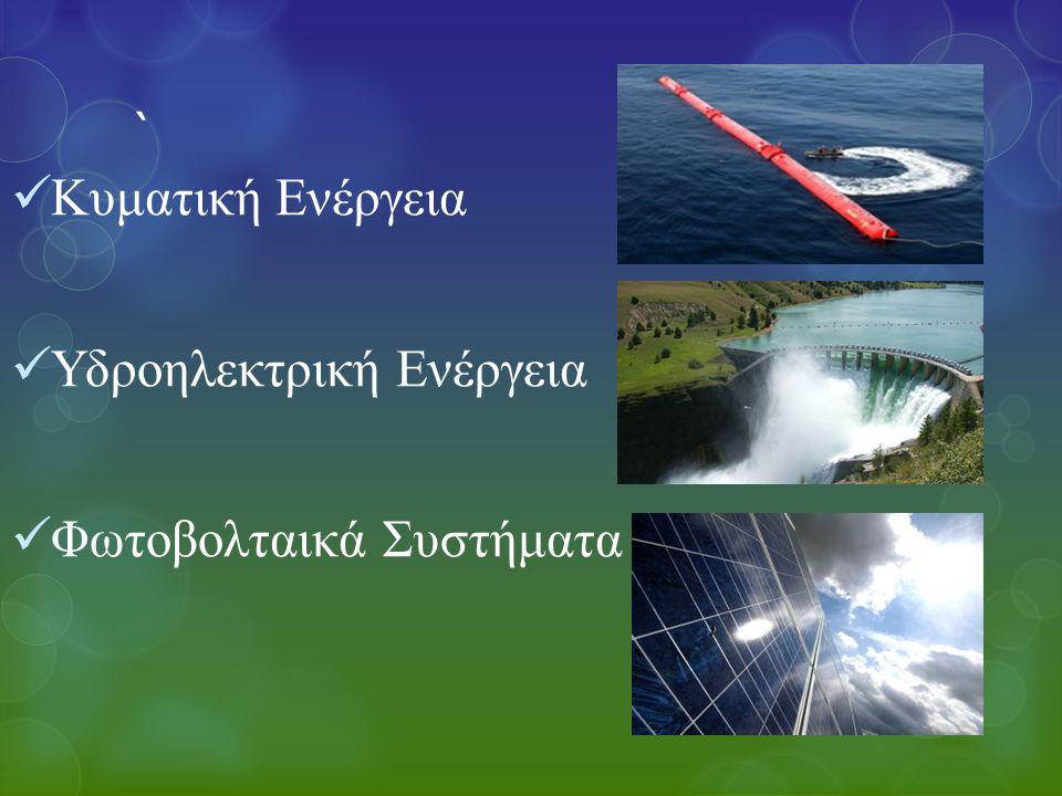 ` Κυματική Ενέργεια Υδροηλεκτρική Ενέργεια Φωτοβολταικά Συστήματα