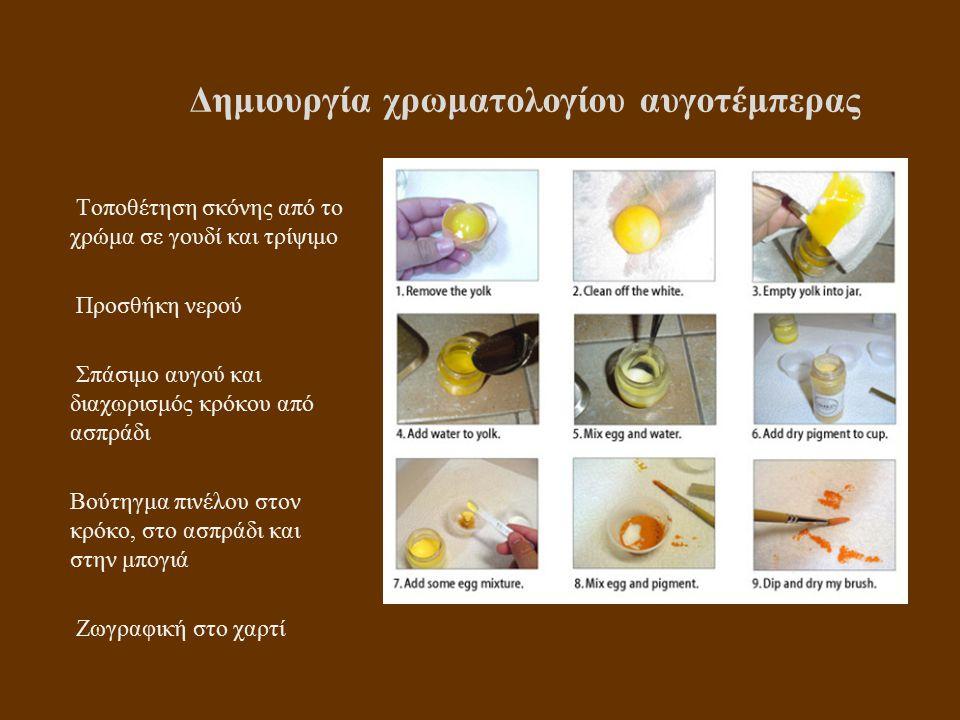 Δημιουργία χρωματολογίου αυγοτέμπερας Τοποθέτηση σκόνης από το χρώμα σε γουδί και τρίψιμο Προσθήκη νερού Σπάσιμο αυγού και διαχωρισμός κρόκου από ασπράδι Βούτηγμα πινέλου στον κρόκο, στο ασπράδι και στην μπογιά Ζωγραφική στο χαρτί