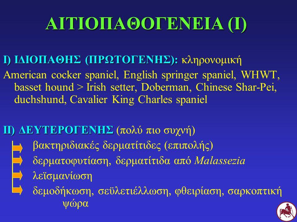 ΑΙΤΙΟΠΑΘΟΓΕΝΕΙΑ (Ι) Ι) ΙΔΙΟΠΑΘΗΣ (ΠΡΩΤΟΓΕΝΗΣ): Ι) ΙΔΙΟΠΑΘΗΣ (ΠΡΩΤΟΓΕΝΗΣ): κληρονομική American cocker spaniel, English springer spaniel, WHWT, basset