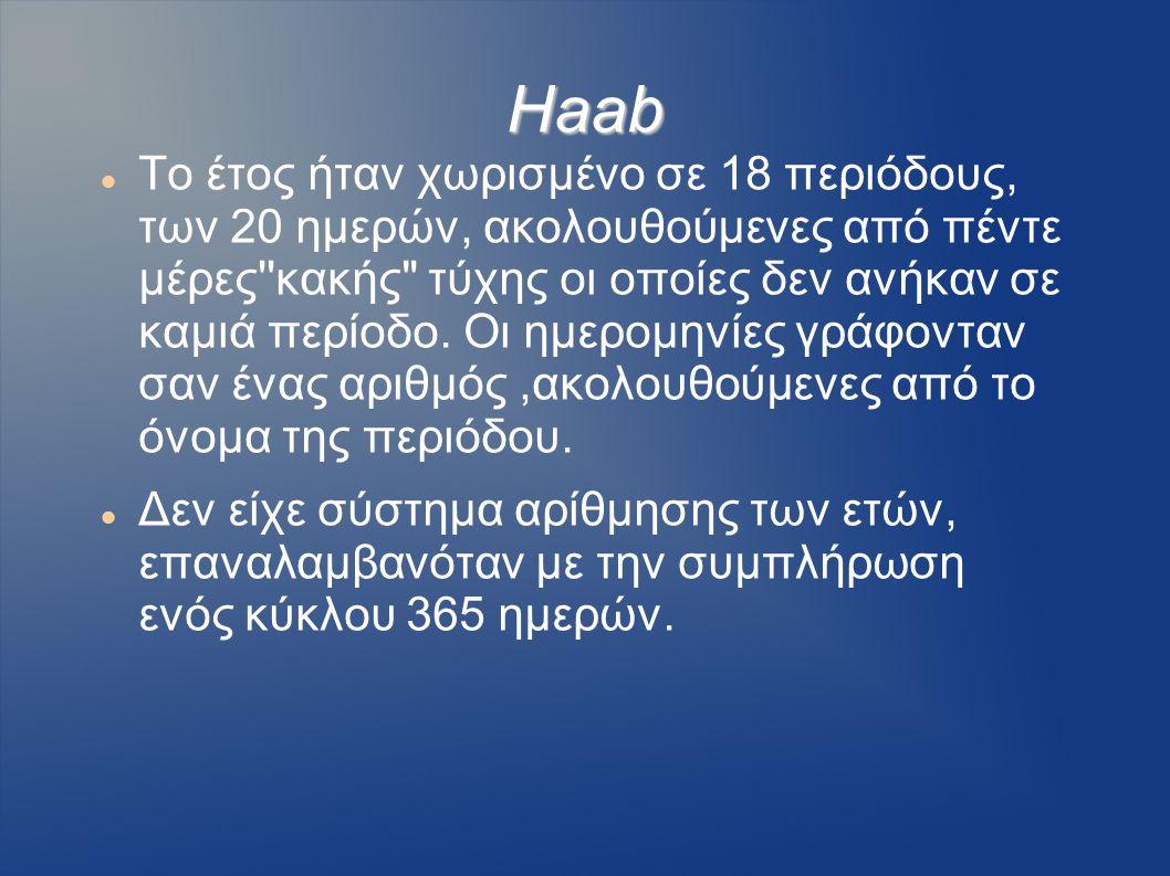 Haab Το έτος ήταν χωρισμένο σε 18 περιόδους, των 20 ημερών, ακολουθούμενες από πέντε μέρες''κακής