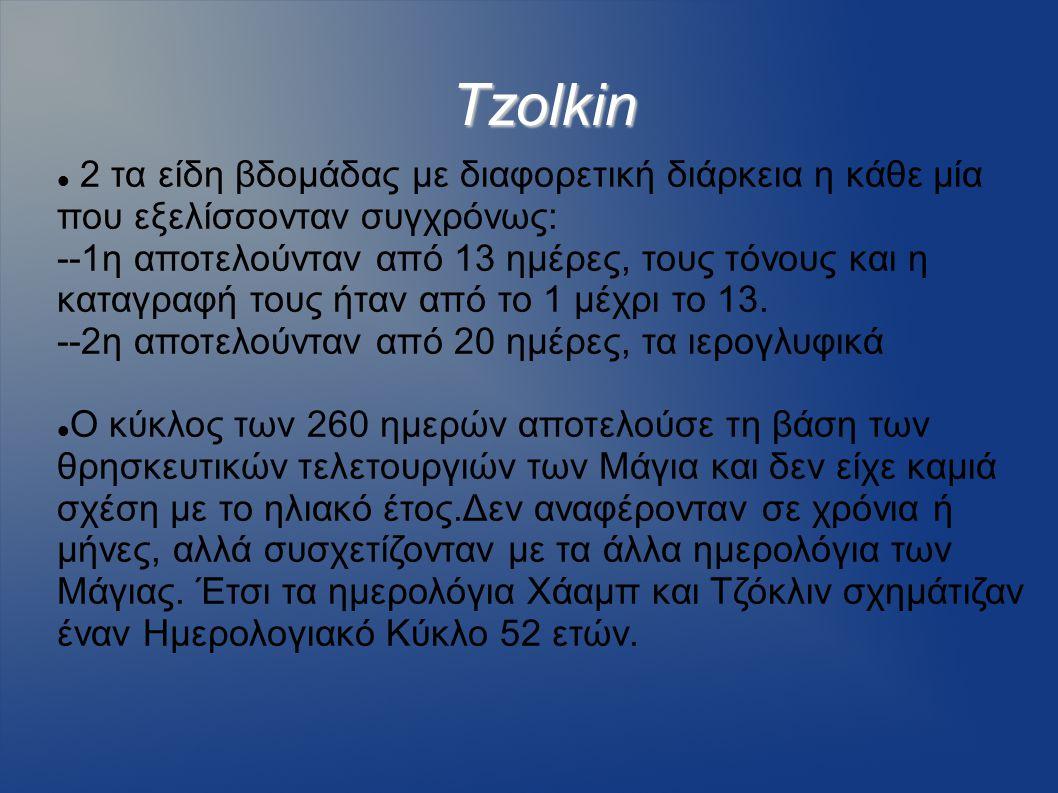 Tzolkin 2 τα είδη βδομάδας με διαφορετική διάρκεια η κάθε μία που εξελίσσονταν συγχρόνως: --1η αποτελούνταν από 13 ημέρες, τους τόνους και η καταγραφή
