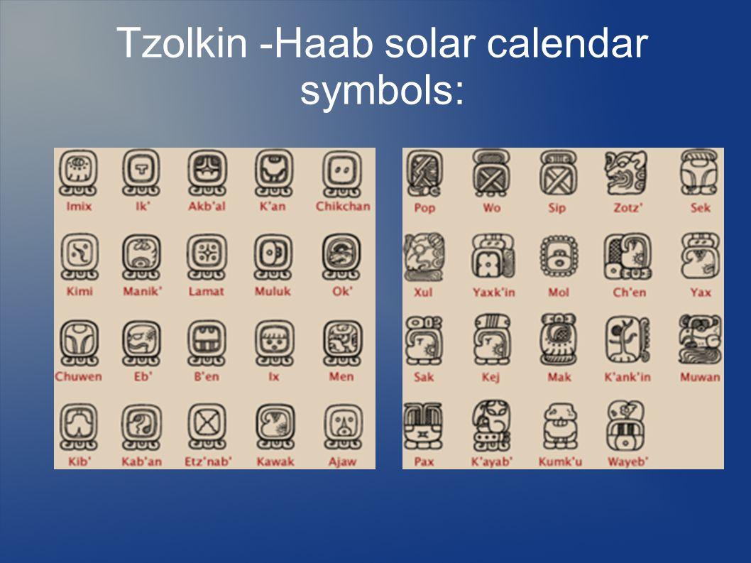 Tzolkin -Haab solar calendar symbols: