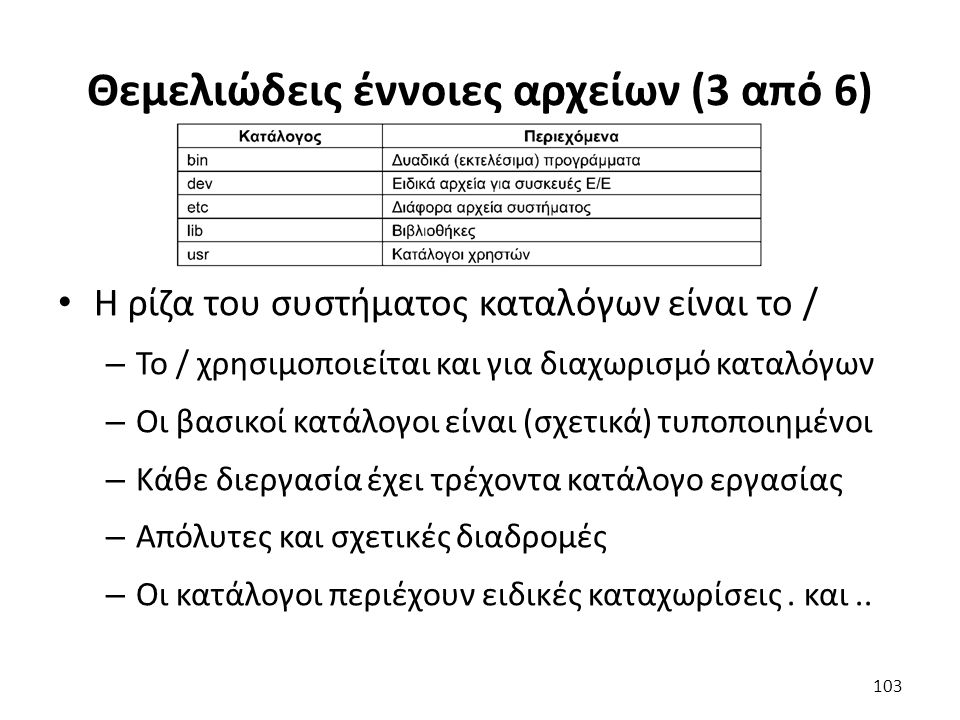 Θεμελιώδεις έννοιες αρχείων (3 από 6) Η ρίζα του συστήματος καταλόγων είναι το / – Το / χρησιμοποιείται και για διαχωρισμό καταλόγων – Οι βασικοί κατάλογοι είναι (σχετικά) τυποποιημένοι – Κάθε διεργασία έχει τρέχοντα κατάλογο εργασίας – Απόλυτες και σχετικές διαδρομές – Οι κατάλογοι περιέχουν ειδικές καταχωρίσεις.