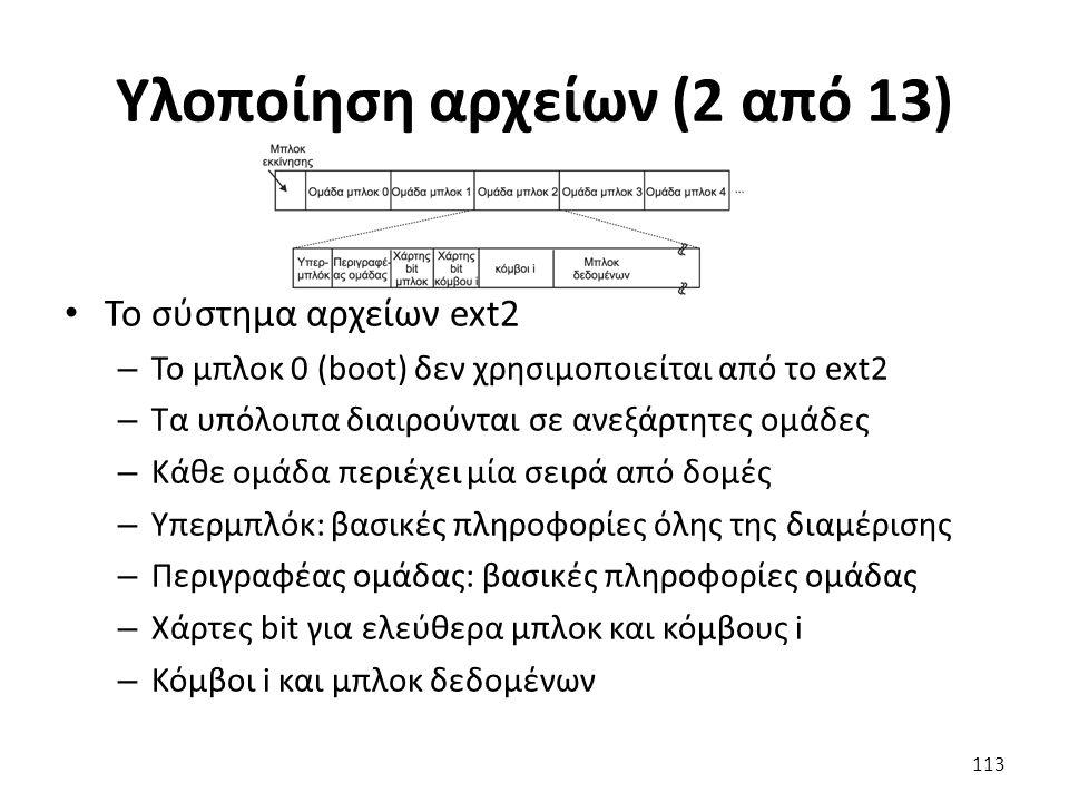 Υλοποίηση αρχείων (2 από 13) Το σύστημα αρχείων ext2 – Το μπλοκ 0 (boot) δεν χρησιμοποιείται από το ext2 – Τα υπόλοιπα διαιρούνται σε ανεξάρτητες ομάδες – Κάθε ομάδα περιέχει μία σειρά από δομές – Υπερμπλόκ: βασικές πληροφορίες όλης της διαμέρισης – Περιγραφέας ομάδας: βασικές πληροφορίες ομάδας – Χάρτες bit για ελεύθερα μπλοκ και κόμβους i – Κόμβοι i και μπλοκ δεδομένων 113