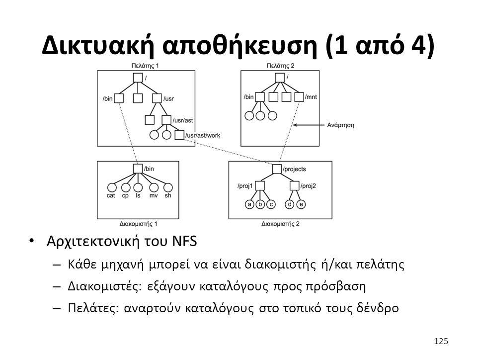 Δικτυακή αποθήκευση (1 από 4) Αρχιτεκτονική του NFS – Κάθε μηχανή μπορεί να είναι διακομιστής ή/και πελάτης – Διακομιστές: εξάγουν καταλόγους προς πρόσβαση – Πελάτες: αναρτούν καταλόγους στο τοπικό τους δένδρο 125