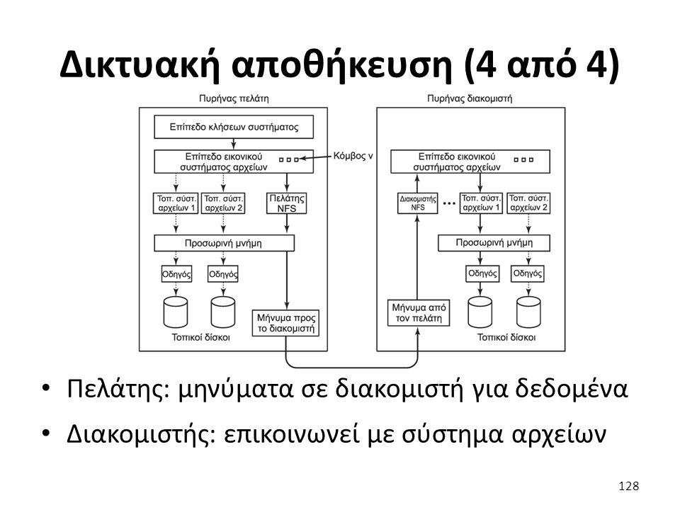 Δικτυακή αποθήκευση (4 από 4) Πελάτης: μηνύματα σε διακομιστή για δεδομένα Διακομιστής: επικοινωνεί με σύστημα αρχείων 128