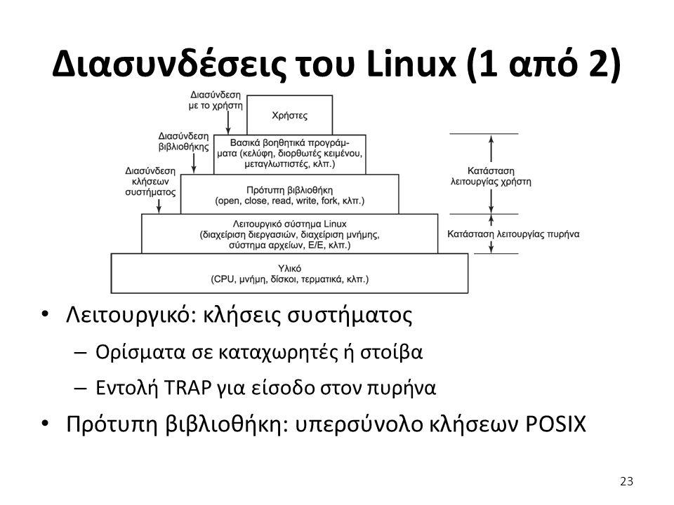 Διασυνδέσεις του Linux (1 από 2) Λειτουργικό: κλήσεις συστήματος – Ορίσματα σε καταχωρητές ή στοίβα – Εντολή TRAP για είσοδο στον πυρήνα Πρότυπη βιβλιοθήκη: υπερσύνολο κλήσεων POSIX 23