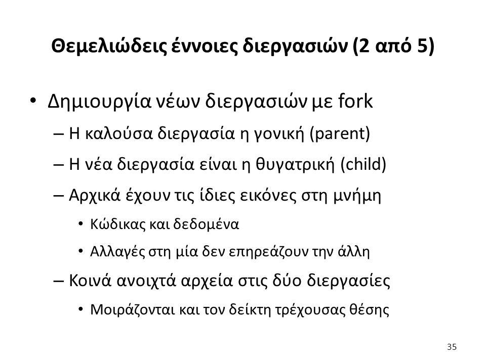 Θεμελιώδεις έννοιες διεργασιών (2 από 5) Δημιουργία νέων διεργασιών με fork – Η καλούσα διεργασία η γονική (parent) – Η νέα διεργασία είναι η θυγατρική (child) – Αρχικά έχουν τις ίδιες εικόνες στη μνήμη Κώδικας και δεδομένα Αλλαγές στη μία δεν επηρεάζουν την άλλη – Κοινά ανοιχτά αρχεία στις δύο διεργασίες Μοιράζονται και τον δείκτη τρέχουσας θέσης 35
