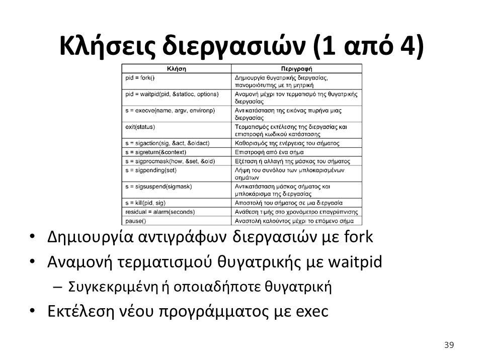 Κλήσεις διεργασιών (1 από 4) Δημιουργία αντιγράφων διεργασιών με fork Αναμονή τερματισμού θυγατρικής με waitpid – Συγκεκριμένη ή οποιαδήποτε θυγατρική Εκτέλεση νέου προγράμματος με exec 39