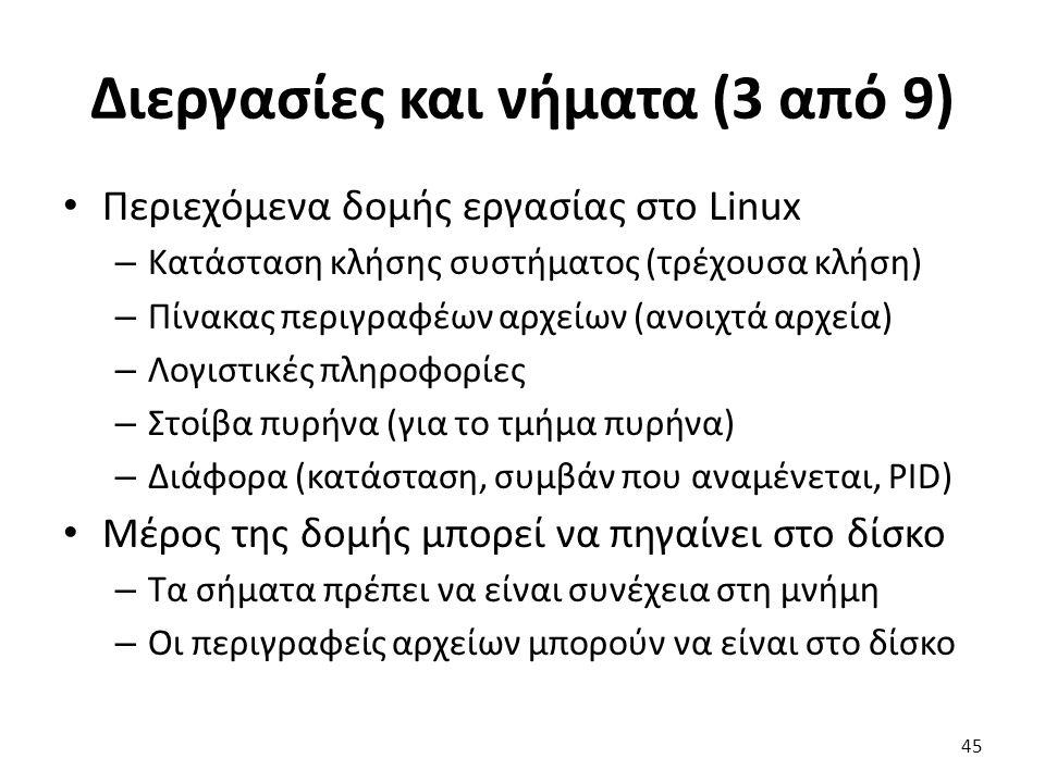 Διεργασίες και νήματα (3 από 9) Περιεχόμενα δομής εργασίας στο Linux – Κατάσταση κλήσης συστήματος (τρέχουσα κλήση) – Πίνακας περιγραφέων αρχείων (ανοιχτά αρχεία) – Λογιστικές πληροφορίες – Στοίβα πυρήνα (για το τμήμα πυρήνα) – Διάφορα (κατάσταση, συμβάν που αναμένεται, PID) Μέρος της δομής μπορεί να πηγαίνει στο δίσκο – Τα σήματα πρέπει να είναι συνέχεια στη μνήμη – Οι περιγραφείς αρχείων μπορούν να είναι στο δίσκο 45