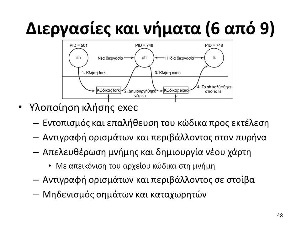 Διεργασίες και νήματα (6 από 9) Υλοποίηση κλήσης exec – Εντοπισμός και επαλήθευση του κώδικα προς εκτέλεση – Αντιγραφή ορισμάτων και περιβάλλοντος στον πυρήνα – Απελευθέρωση μνήμης και δημιουργία νέου χάρτη Με απεικόνιση του αρχείου κώδικα στη μνήμη – Αντιγραφή ορισμάτων και περιβάλλοντος σε στοίβα – Μηδενισμός σημάτων και καταχωρητών 48