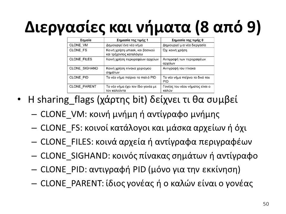 Διεργασίες και νήματα (8 από 9) Η sharing_flags (χάρτης bit) δείχνει τι θα συμβεί – CLONE_VM: κοινή μνήμη ή αντίγραφο μνήμης – CLONE_FS: κοινοί κατάλογοι και μάσκα αρχείων ή όχι – CLONE_FILES: κοινά αρχεία ή αντίγραφα περιγραφέων – CLONE_SIGHAND: κοινός πίνακας σημάτων ή αντίγραφο – CLONE_PID: αντιγραφή PID (μόνο για την εκκίνηση) – CLONE_PARENT: ίδιος γονέας ή ο καλών είναι ο γονέας 50
