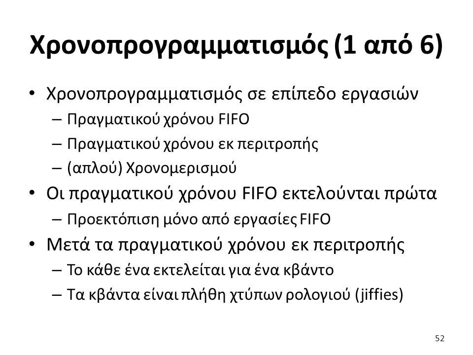 Χρονοπρογραμματισμός (1 από 6) Xρονοπρογραμματισμός σε επίπεδο εργασιών – Πραγματικού χρόνου FIFO – Πραγματικού χρόνου εκ περιτροπής – (απλού) Χρονομερισμού Οι πραγματικού χρόνου FIFO εκτελούνται πρώτα – Προεκτόπιση μόνο από εργασίες FIFO Μετά τα πραγματικού χρόνου εκ περιτροπής – Το κάθε ένα εκτελείται για ένα κβάντο – Τα κβάντα είναι πλήθη χτύπων ρολογιού (jiffies) 52