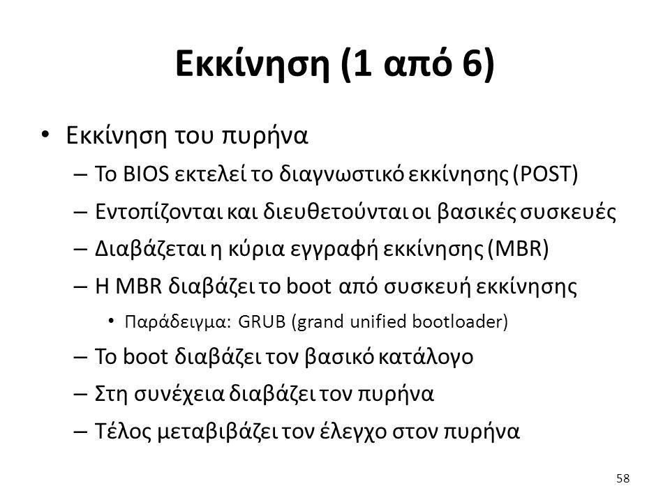 Εκκίνηση (1 από 6) Εκκίνηση του πυρήνα – Το BIOS εκτελεί το διαγνωστικό εκκίνησης (POST) – Εντοπίζονται και διευθετούνται οι βασικές συσκευές – Διαβάζεται η κύρια εγγραφή εκκίνησης (MBR) – Η MBR διαβάζει το boot από συσκευή εκκίνησης Παράδειγμα: GRUB (grand unified bootloader) – Το boot διαβάζει τον βασικό κατάλογο – Στη συνέχεια διαβάζει τον πυρήνα – Τέλος μεταβιβάζει τον έλεγχο στον πυρήνα 58