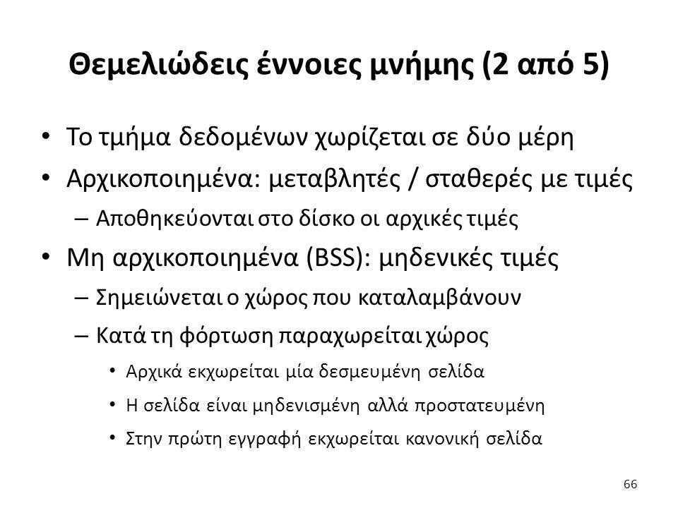 Θεμελιώδεις έννοιες μνήμης (2 από 5) Το τμήμα δεδομένων χωρίζεται σε δύο μέρη Αρχικοποιημένα: μεταβλητές / σταθερές με τιμές – Αποθηκεύονται στο δίσκο οι αρχικές τιμές Μη αρχικοποιημένα (BSS): μηδενικές τιμές – Σημειώνεται ο χώρος που καταλαμβάνουν – Κατά τη φόρτωση παραχωρείται χώρος Αρχικά εκχωρείται μία δεσμευμένη σελίδα Η σελίδα είναι μηδενισμένη αλλά προστατευμένη Στην πρώτη εγγραφή εκχωρείται κανονική σελίδα 66