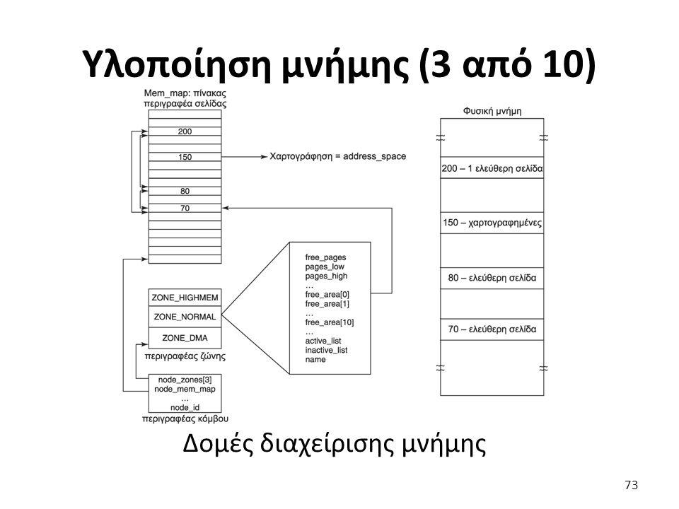 Υλοποίηση μνήμης (3 από 10) Δομές διαχείρισης μνήμης 73
