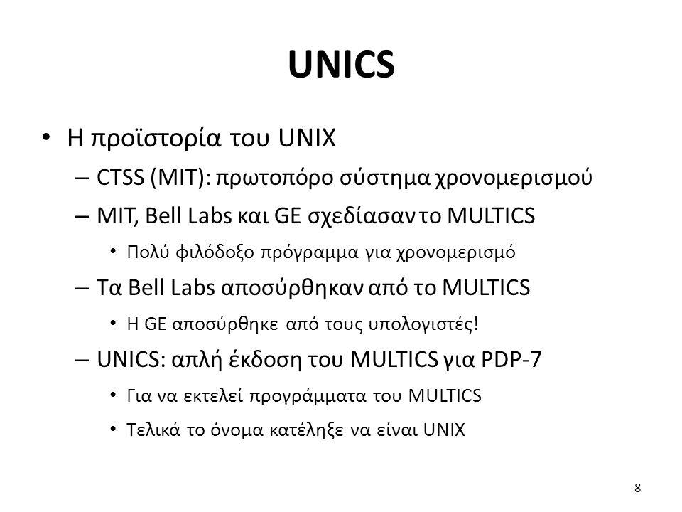 UNICS Η προϊστορία του UNIX – CTSS (MIT): πρωτοπόρο σύστημα χρονομερισμού – MIT, Bell Labs και GE σχεδίασαν το MULTICS Πολύ φιλόδοξο πρόγραμμα για χρονομερισμό – Τα Bell Labs αποσύρθηκαν από το MULTICS Η GE αποσύρθηκε από τους υπολογιστές.