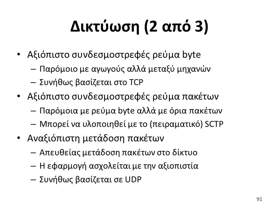 Δικτύωση (2 από 3) Αξιόπιστο συνδεσμοστρεφές ρεύμα byte – Παρόμοιο με αγωγούς αλλά μεταξύ μηχανών – Συνήθως βασίζεται στο TCP Αξιόπιστο συνδεσμοστρεφές ρεύμα πακέτων – Παρόμοια με ρεύμα byte αλλά με όρια πακέτων – Μπορεί να υλοποιηθεί με το (πειραματικό) SCTP Αναξιόπιστη μετάδοση πακέτων – Απευθείας μετάδοση πακέτων στο δίκτυο – Η εφαρμογή ασχολείται με την αξιοπιστία – Συνήθως βασίζεται σε UDP 91