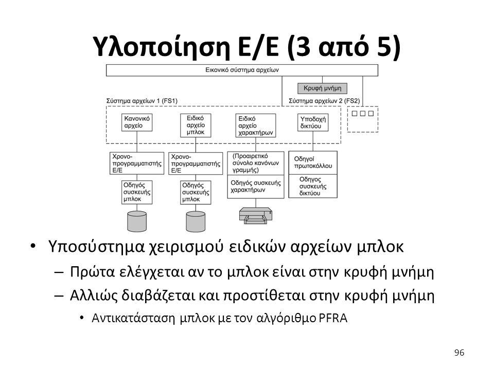 Υλοποίηση Ε/Ε (3 από 5) Υποσύστημα χειρισμού ειδικών αρχείων μπλοκ – Πρώτα ελέγχεται αν τo μπλοκ είναι στην κρυφή μνήμη – Αλλιώς διαβάζεται και προστίθεται στην κρυφή μνήμη Αντικατάσταση μπλοκ με τον αλγόριθμο PFRA 96