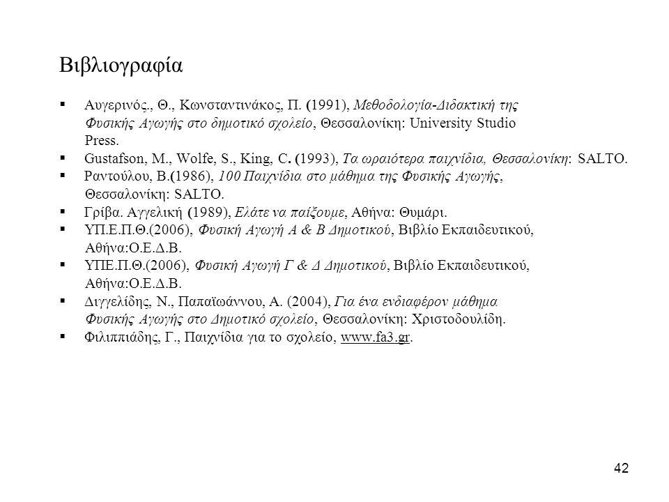 Βιβλιογραφία  Αυγερινός., Θ., Κωνσταντινάκος, Π. (1991), Μεθοδολογία-Διδακτική της Φυσικής Αγωγής στο δημοτικό σχολείο, Θεσσαλονίκη: University Studi