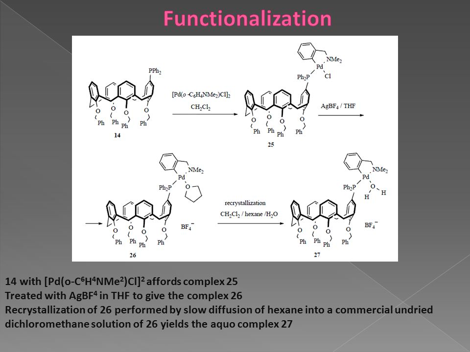 14 with [Pd(o-C 6 H 4 NMe 2 )Cl] 2 affords complex 25 Treated with AgBF 4 in THF to give the complex 26 Recrystallization of 26 performed by slow diff