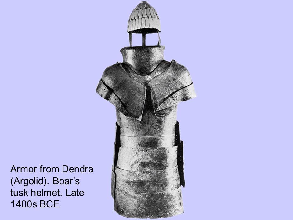 Armor from Dendra (Argolid). Boar's tusk helmet. Late 1400s BCE