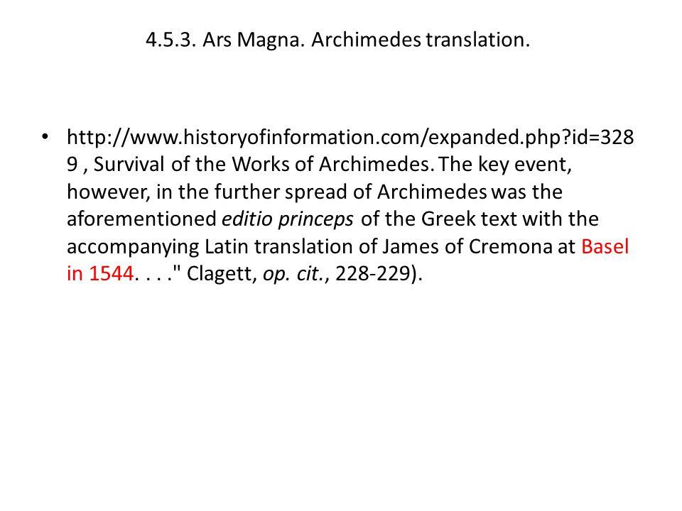 4.5.3.Ars Magna. Archimedes translation.