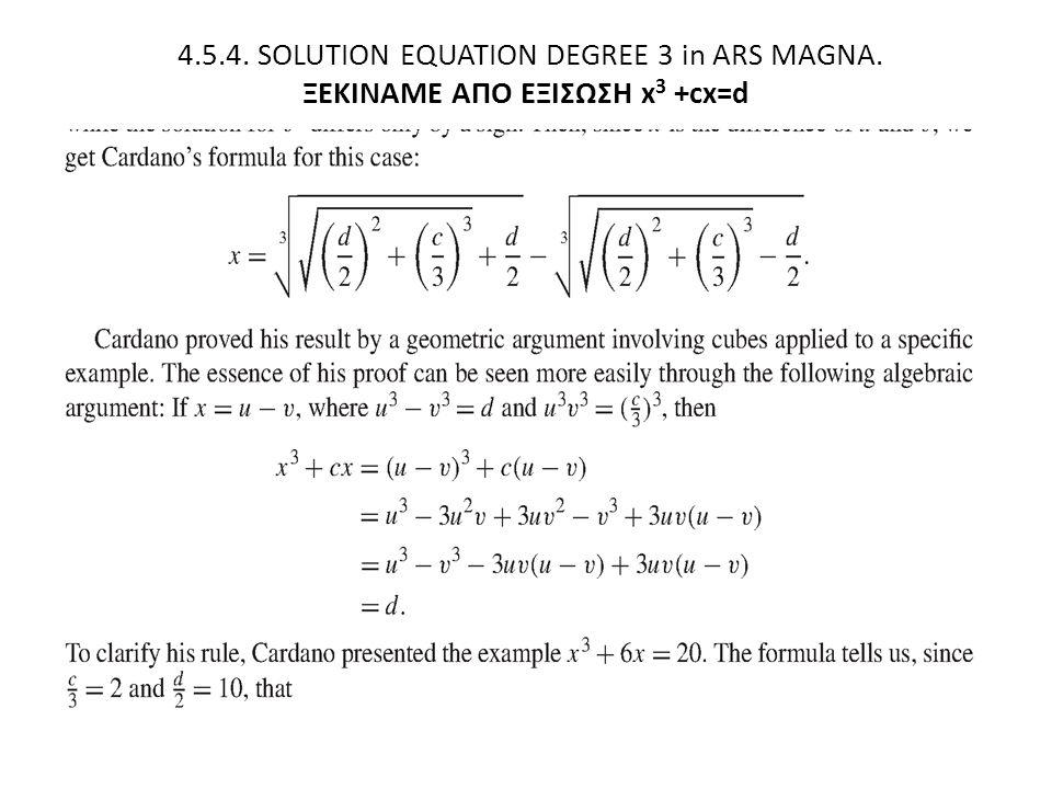 4.5.4. SOLUTION EQUATION DEGREE 3 in ARS MAGNA. ΞΕΚΙΝΑΜΕ ΑΠΟ ΕΞΙΣΩΣΗ x 3 +cx=d