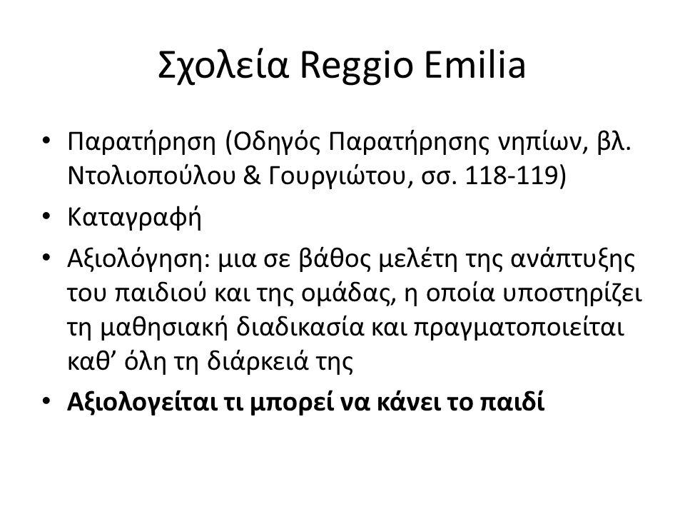 Σχολεία Reggio Emilia Παρατήρηση (Οδηγός Παρατήρησης νηπίων, βλ. Ντολιοπούλου & Γουργιώτου, σσ. 118-119) Καταγραφή Αξιολόγηση: μια σε βάθος μελέτη της