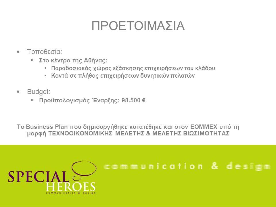ΠΡΟΕΤΟΙΜΑΣΙΑ  Τοποθεσία:  Στο κέντρο της Αθήνας: Παραδοσιακός χώρος εξάσκησης επιχειρήσεων του κλάδου Κοντά σε πλήθος επιχειρήσεων δυνητικών πελατών  Budget:  Προϋπολογισμός Έναρξης: 98.500 € Το Business Plan που δημιουργήθηκε κατατέθηκε και στον ΕΟΜΜΕΧ υπό τη μορφή ΤΕΧΝΟΟΙΚΟΝΟΜΙΚΗΣ ΜΕΛΕΤΗΣ & ΜΕΛΕΤΗΣ ΒΙΩΣΙΜΟΤΗΤΑΣ
