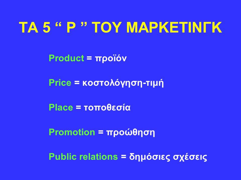 "TA 5 "" P "" TOY ΜΑΡΚΕΤΙΝΓΚ Product = προϊόν Price = κοστολόγηση-τιμή Place = τοποθεσία Promotion = προώθηση Public relations = δημόσιες σχέσεις"