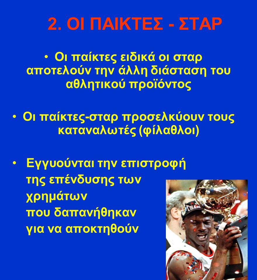 2. ΟΙ ΠΑΙΚΤΕΣ - ΣΤΑΡ Οι παίκτες ειδικά οι σταρ αποτελούν την άλλη διάσταση του αθλητικού προϊόντος Οι παίκτες-σταρ προσελκύουν τους καταναλωτές (φίλαθ