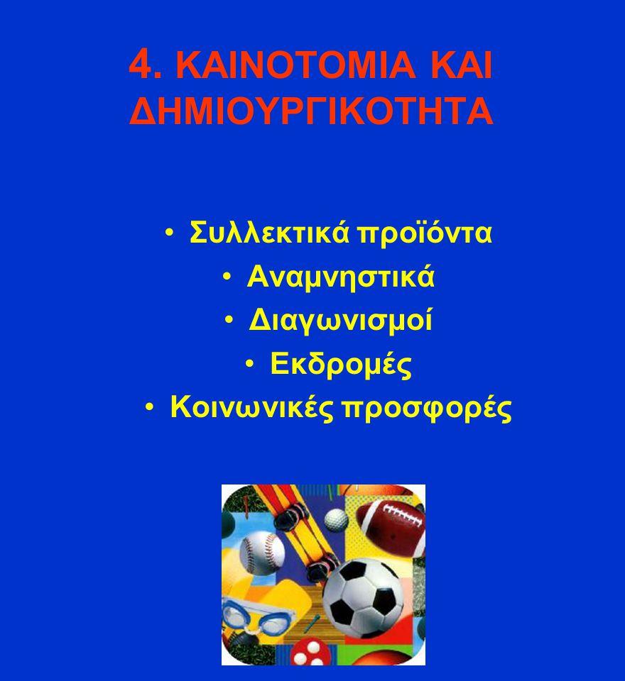 4. ΚΑΙΝΟΤΟΜΙΑ ΚΑΙ ΔΗΜΙΟΥΡΓΙΚOΤΗΤΑ Συλλεκτικά προϊόντα Αναμνηστικά Διαγωνισμοί Εκδρομές Κοινωνικές προσφορές