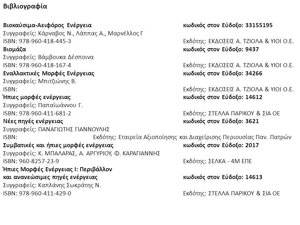 Βιβλιογραφία Βιοκαύσιμα-Αειφόρος Ενέργειακωδικός στον Εύδοξο: 33155195 Συγγραφείς: Κάρναβος Ν., Λάππας Α., Μαρνέλλος Γ ISBN: 978-960-418-445-3Εκδότης: