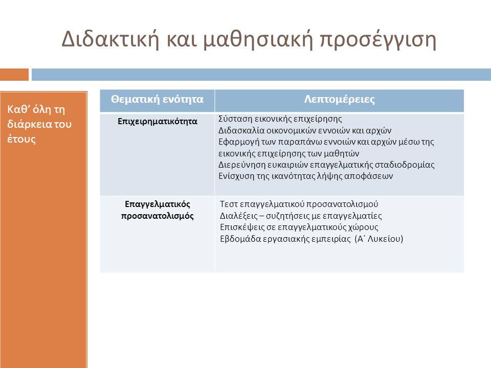 Διδακτική και μαθησιακή προσέγγιση Καθ ' όλη τη διάρκεια του έτους Θεματική ενότηταΛεπτομέρειες Επιχειρηματικότητα Σύσταση εικονικής επιχείρησης Διδασκαλία οικονομικών εννοιών και αρχών Εφαρμογή των παραπάνω εννοιών και αρχών μέσω της εικονικής επιχείρησης των μαθητών Διερεύνηση ευκαιριών επαγγελματικής σταδιοδρομίας Ενίσχυση της ικανότητας λήψης αποφάσεων Επαγγελματικός προσανατολισμός Τεστ επαγγελματικού προσανατολισμού Διαλέξεις – συζητήσεις με επαγγελματίες Επισκέψεις σε επαγγελματικούς χώρους Εβδομάδα εργασιακής εμπειρίας (Α΄ Λυκείου)