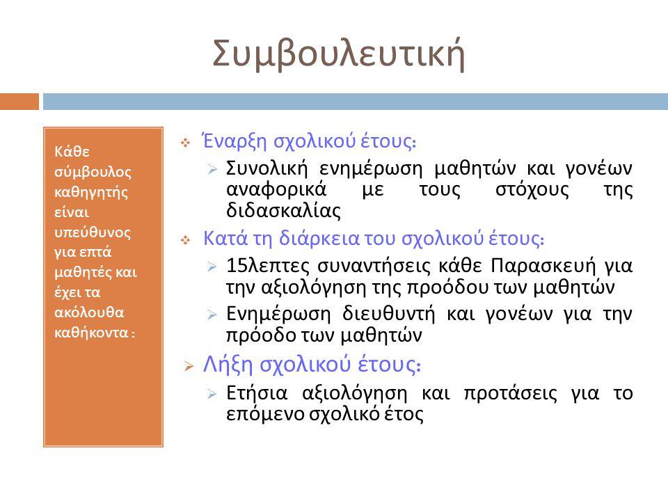 Συμβουλευτική Κάθε σύμβουλος καθηγητής είναι υπεύθυνος για επτά μαθητές και έχει τα ακόλουθα καθήκοντα :  Έναρξη σχολικού έτους :  Συνολική ενημέρωση μαθητών και γονέων αναφορικά με τους στόχους της διδασκαλίας  Κατά τη διάρκεια του σχολικού έτους :  15 λεπτες συναντήσεις κάθε Παρασκευή για την αξιολόγηση της προόδου των μαθητών  Ενημέρωση διευθυντή και γονέων για την πρόοδο των μαθητών  Λήξη σχολικού έτους :  Ετήσια αξιολόγηση και προτάσεις για το επόμενο σχολικό έτος
