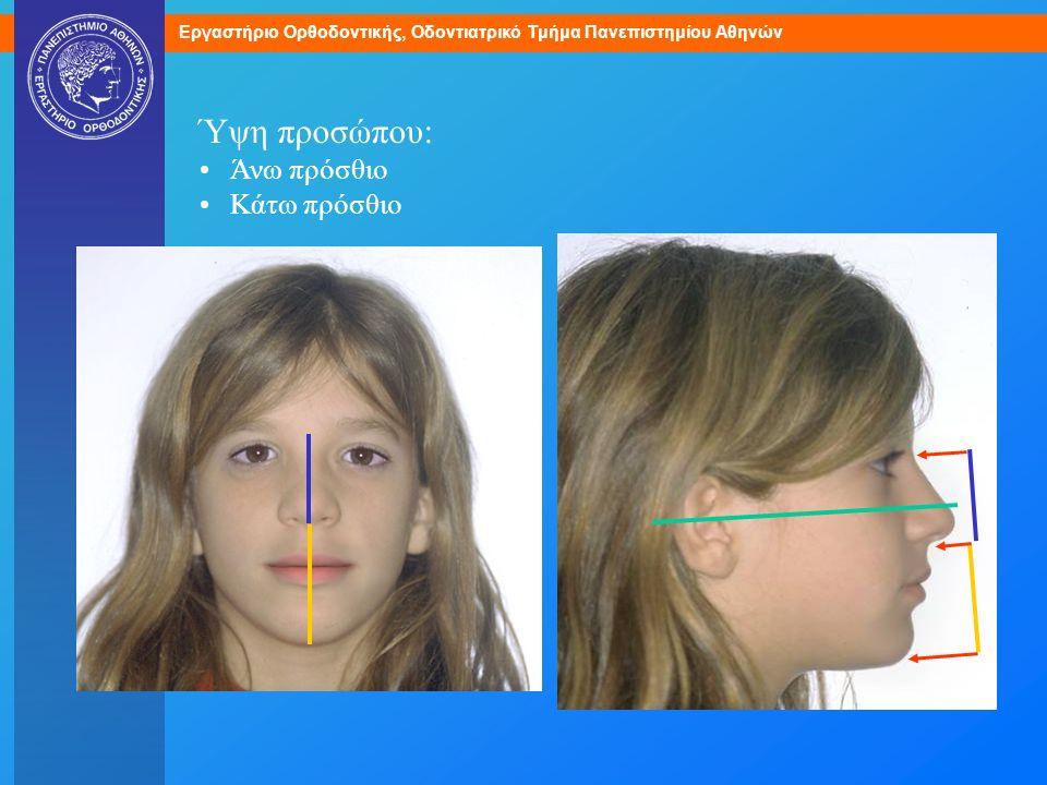 Εργαστήριο Ορθοδοντικής, Οδοντιατρικό Τμήμα Πανεπιστημίου Αθηνών Ύψη προσώπου: Άνω πρόσθιο Κάτω πρόσθιο