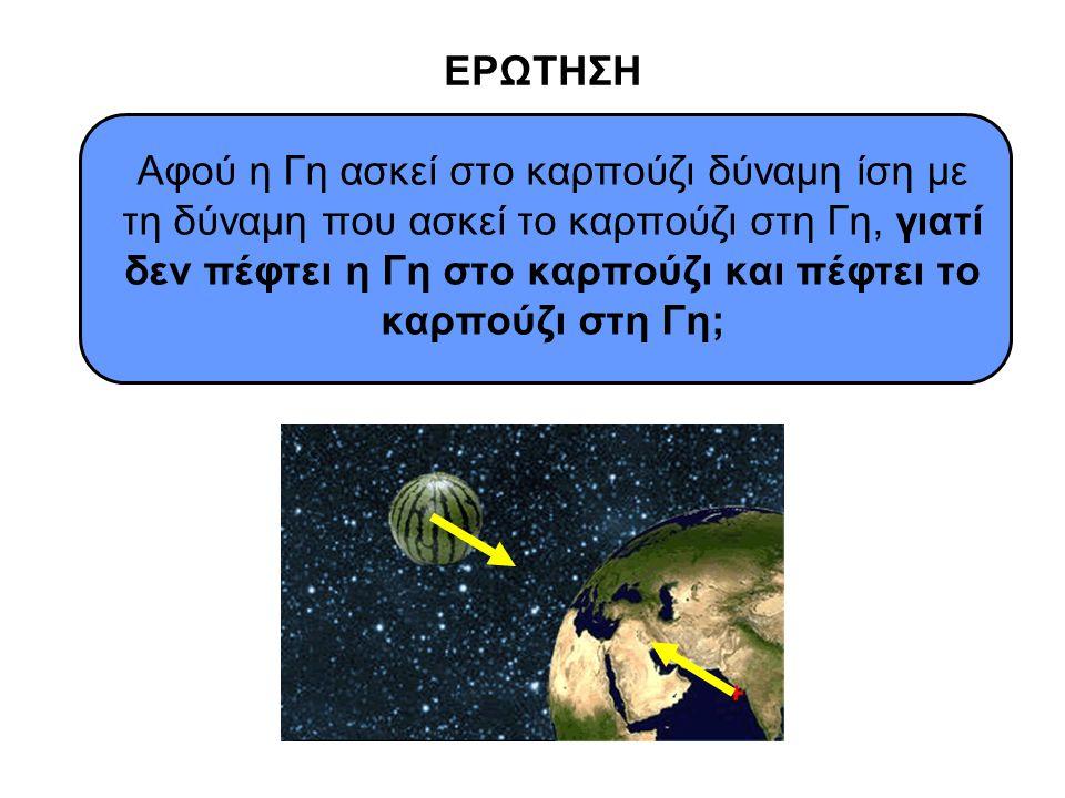 ΕΡΩΤΗΣΗ Αφού η Γη ασκεί στο καρπούζι δύναμη ίση με τη δύναμη που ασκεί το καρπούζι στη Γη, γιατί δεν πέφτει η Γη στο καρπούζι και πέφτει το καρπούζι σ