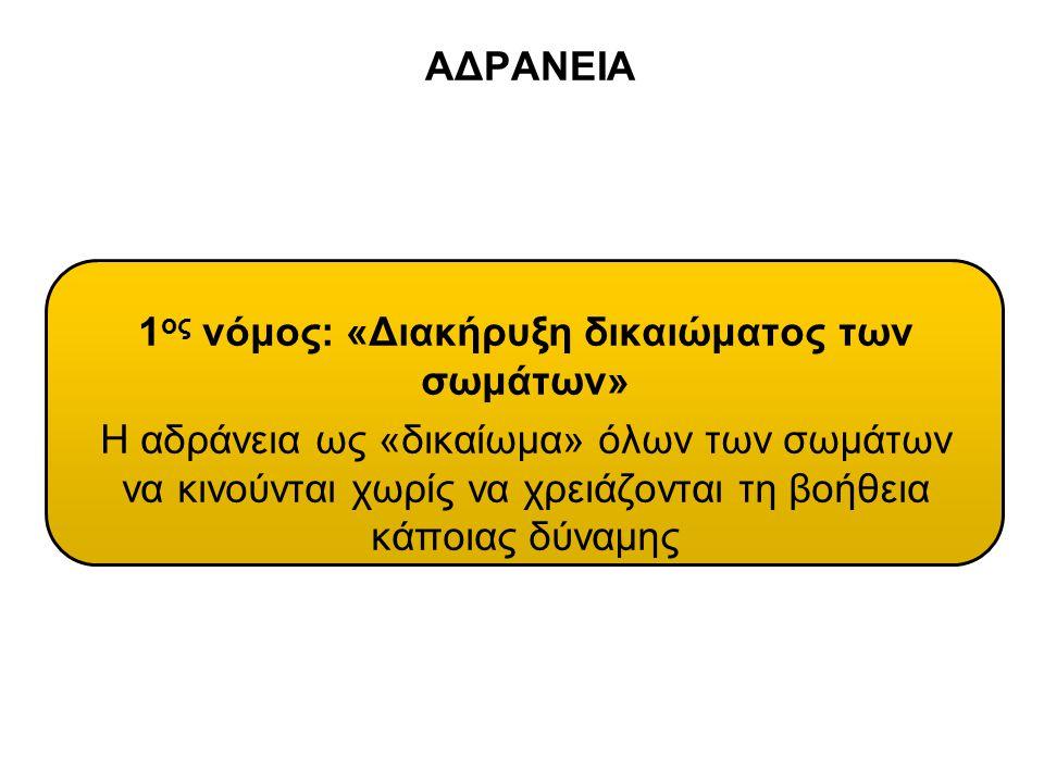 ΑΔΡΑΝΕΙΑ 1 ος νόμος: «Διακήρυξη δικαιώματος των σωμάτων» Η αδράνεια ως «δικαίωμα» όλων των σωμάτων να κινούνται χωρίς να χρειάζονται τη βοήθεια κάποια