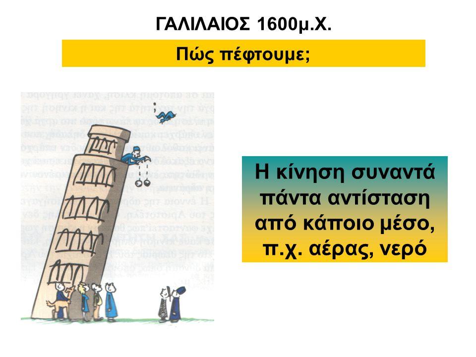 ΓΑΛΙΛΑΙΟΣ 1600μ.Χ. Πώς πέφτουμε; Η κίνηση συναντά πάντα αντίσταση από κάποιο μέσο, π.χ. αέρας, νερό