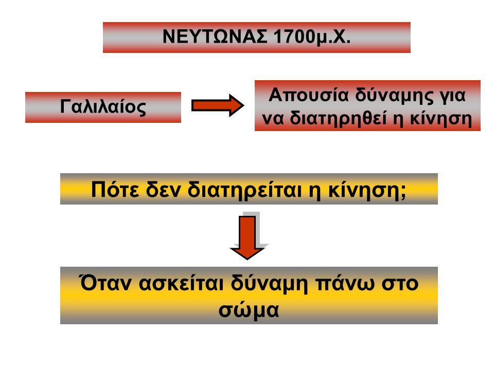 ΝΕΥΤΩΝΑΣ 1700μ.Χ. Πότε δεν διατηρείται η κίνηση; Γαλιλαίος Απουσία δύναμης για να διατηρηθεί η κίνηση Όταν ασκείται δύναμη πάνω στο σώμα